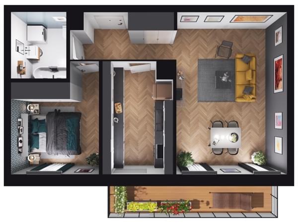 Fleminga Residence - wizualizacja mieszkania 007