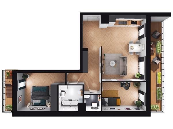 Fleminga Residence - wizualizacja mieszkania 008