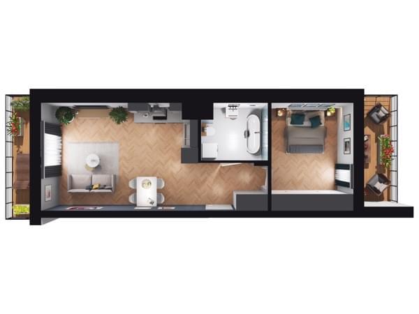Fleminga Residence - rzut 3d mieszkania 9