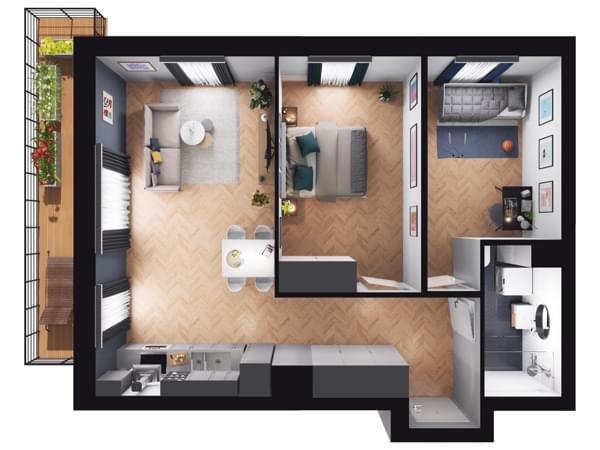 Fleminga Residence - wizualizacja mieszkania 013