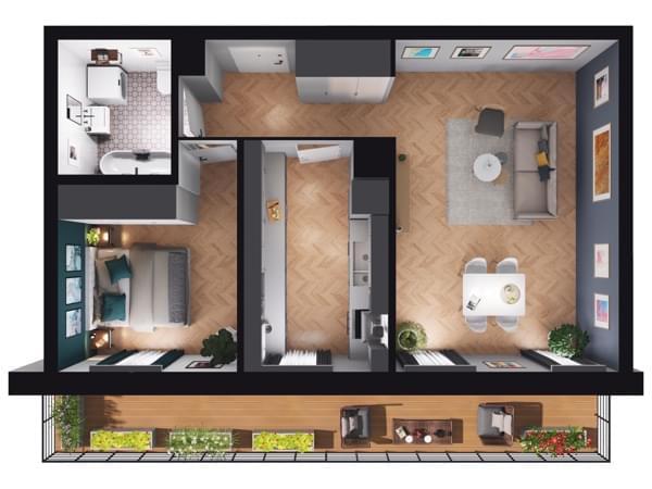 Fleminga Residence - rzut 3d mieszkania 15