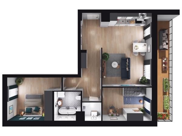 Fleminga Residence - wizualizacja mieszkania 016