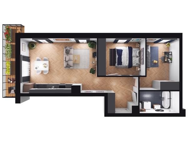 Fleminga Residence - rzut 3d mieszkania 20